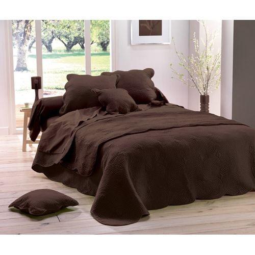 couvre lit marron Couvre lit matelassé 220x240 BOUTIS UNI choco   Achat / Vente  couvre lit marron