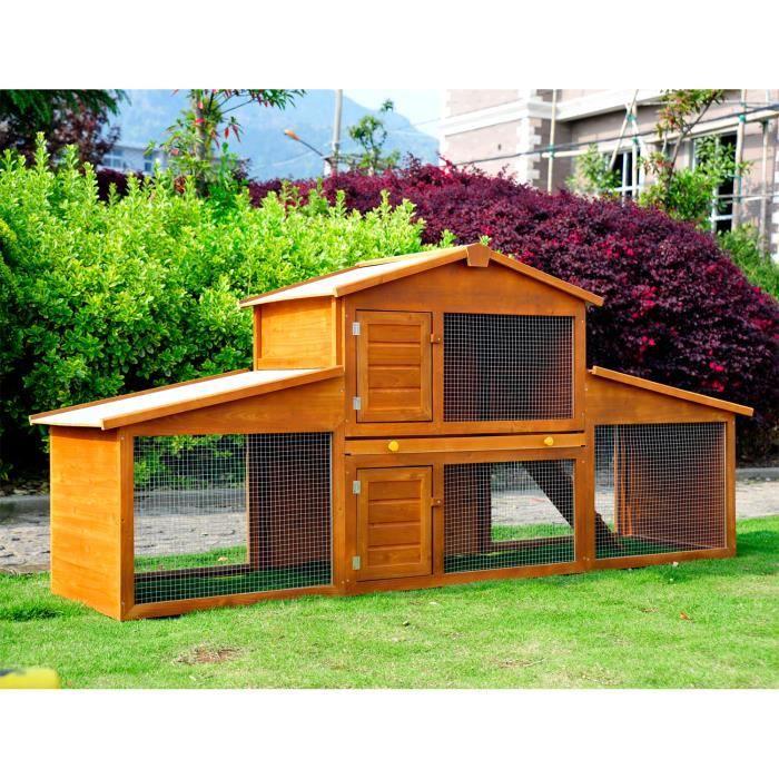 Cage a lapin poulaillier clapier en bois rongeur grande taille avec 2  etages 215x63x100cm 02 cc36ed121100