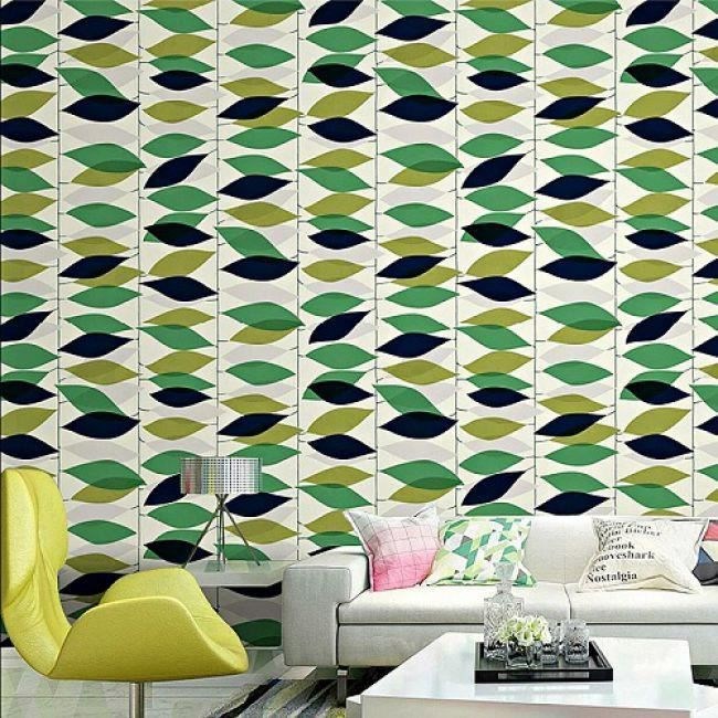 Papier Peint Nature Floral Retro Geometrique Revetement Mural Vert