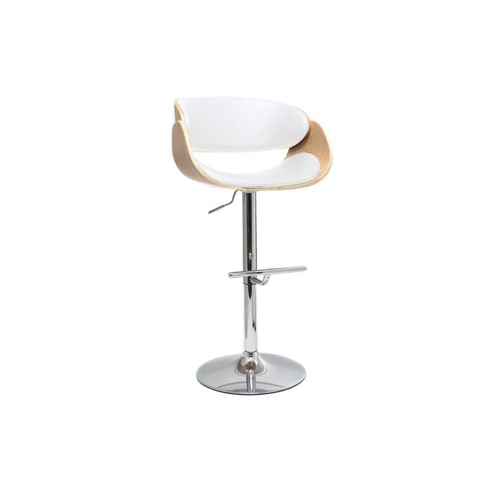 miliboo tabouret de bar design blanc et bois clair bent - Chaise De Bar Design