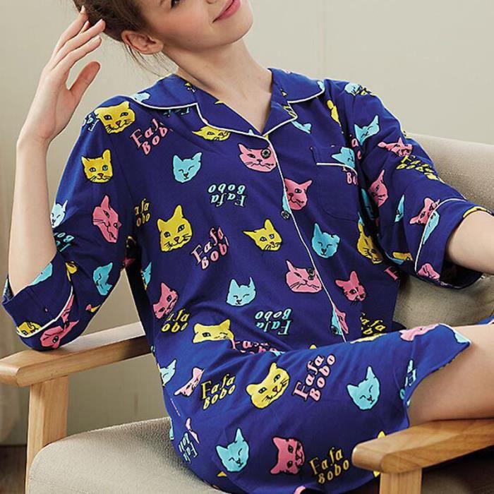 Nuit Boucle Lâche Pyjama Imprimé De Robe Femme gvznqAx