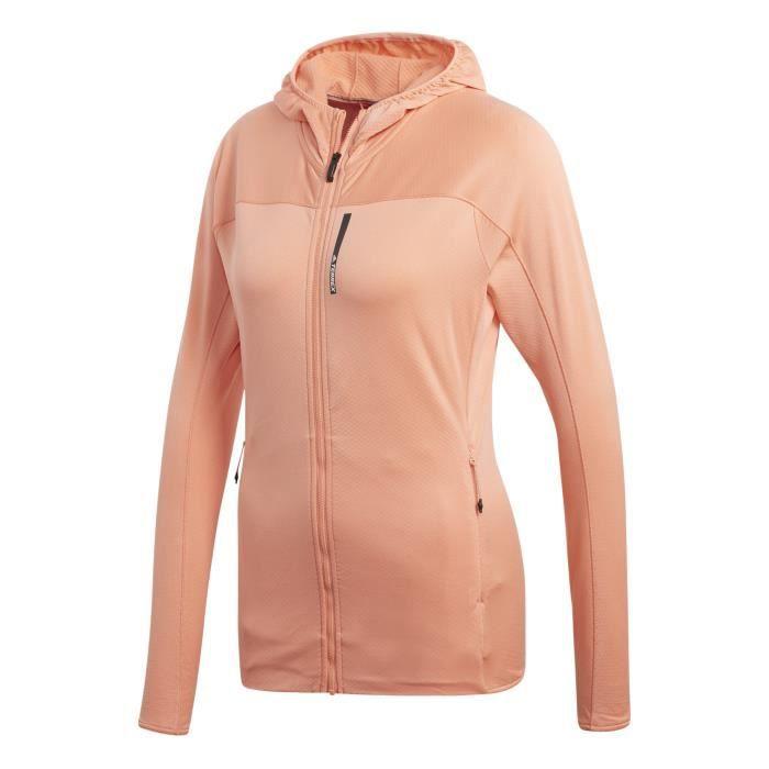 e3880f3348495 Veste adidas TERREX TraceRocker Hooded Fleece Orange pastel - Achat ...