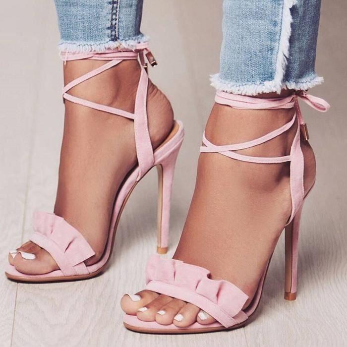 Ruffle Sandales à talons hauts Femmes Cross Strappy Sandales Femmes Chaussures d'été