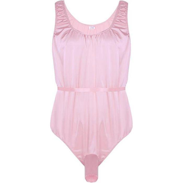Body homme sexy nuit adulte - Justaucorps lingerie sans manches en satin  brillant tissu extensible cadeau nuit d0c6cb1044f