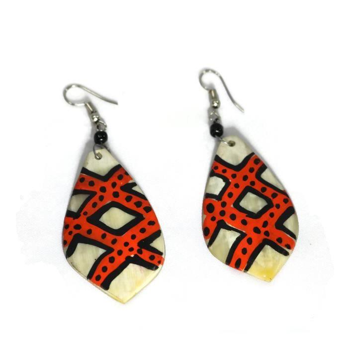 Femmes Orange, Noir, blanc et feuilles en forme dimpression africaine Boucles doreilles en os EEGGA