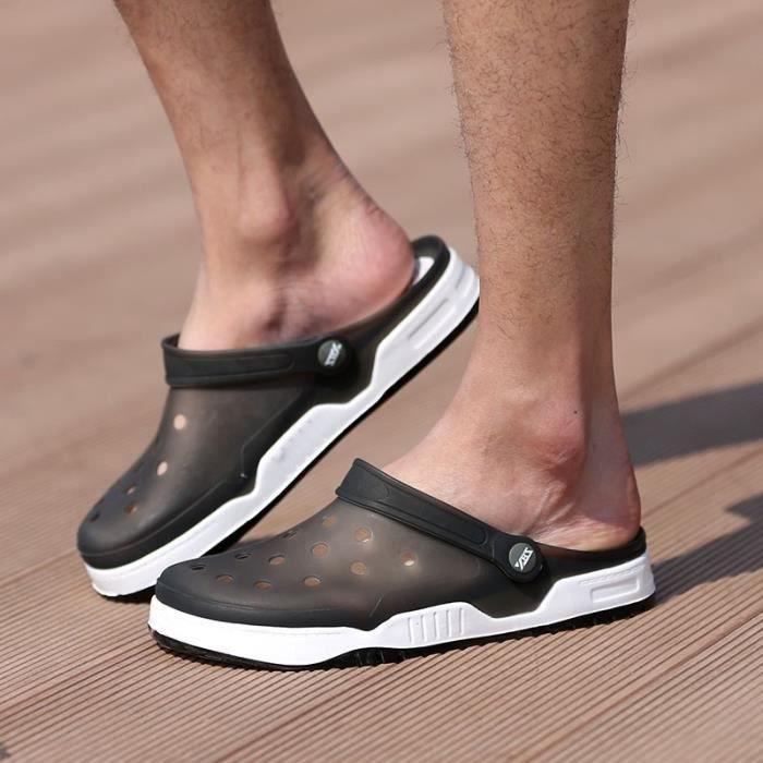 Nouveau design Hommes Mesh Sandales Respirant été talon plat Sandales hommes plage Tongs Chaussons,gris et bleu,11