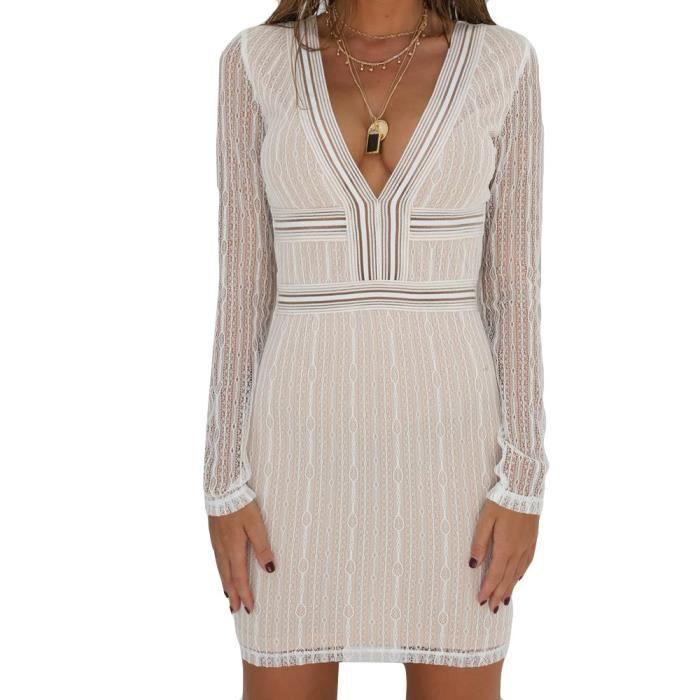 Napoulen®Mode Mini Robe de soirée à manches longues en dentelle à manches Blanc YXP80305648