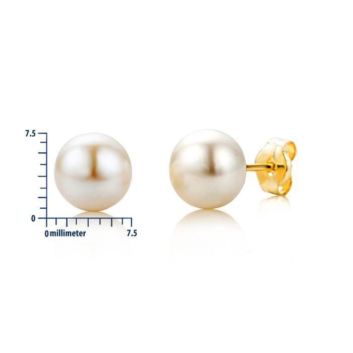 Miore femmes 9 Ct or jaune perles deau douce Boucles doreilles Bouton
