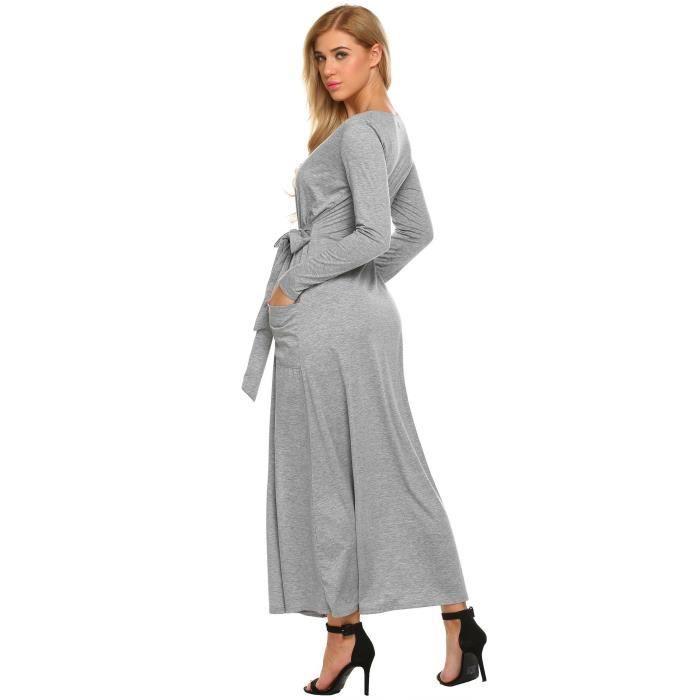 Longue Robe Femmes V encolure à lacets devant Split Banquet
