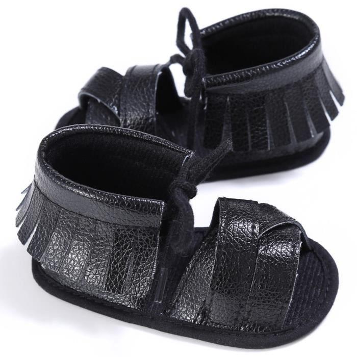 BOTTE Nouveau-né Filles Garçons Crib Chaussures Doux Semelle Anti-slip Bébé Sneakers Tassel Sandales@NoirHM