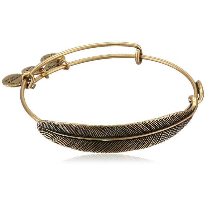 Alex And Ani Alex & Ani Terre Sultry Quill Feather Rafaelian Gold-Tone Finish Brace
