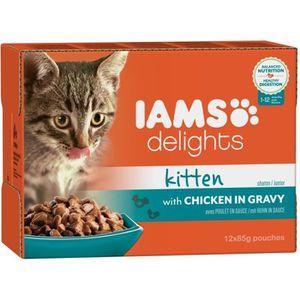 IAMS Delights Humide Poulet en sauce Toutes Races 12x85 g Pour chaton