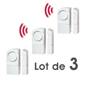 DÉTECTEUR D'OUVERTURE Lot de 3 Détecteur Alarme d'Ouverture Sans Fil de