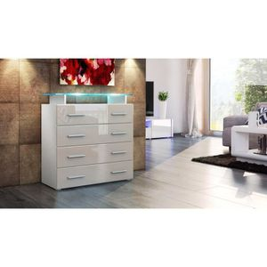 Commode de chambre blanc laque avec led - Achat / Vente Commode de ...