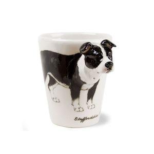 BOL - MUG - MAZAGRAN Tasse à Café Staffordshire Noire Et Blanc faite à