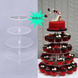 PRESENTOIR A POP CAKE 5PCS Support à gâteau rond à 5 niveaux, en acryliq