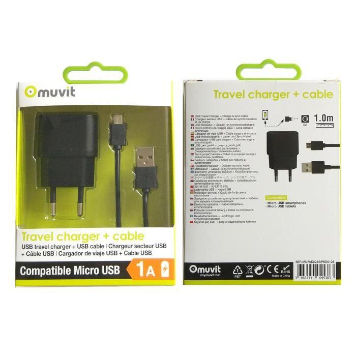 MUVIT SPRING Pack Chargeur SECTEUR 1USB 1A+Câble MICRO USB 1M 1A Noir