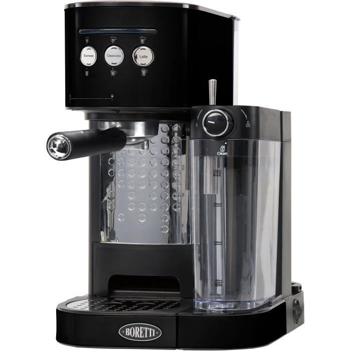BORETTI B400 Machine à expresso 15 bars - Cappuccino et latté avec mousse de lait - Noir