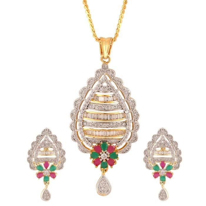 American Diamond Femmes Fleur Cz Zircon Bijoux boucles doreilles pendentif pourS04BR
