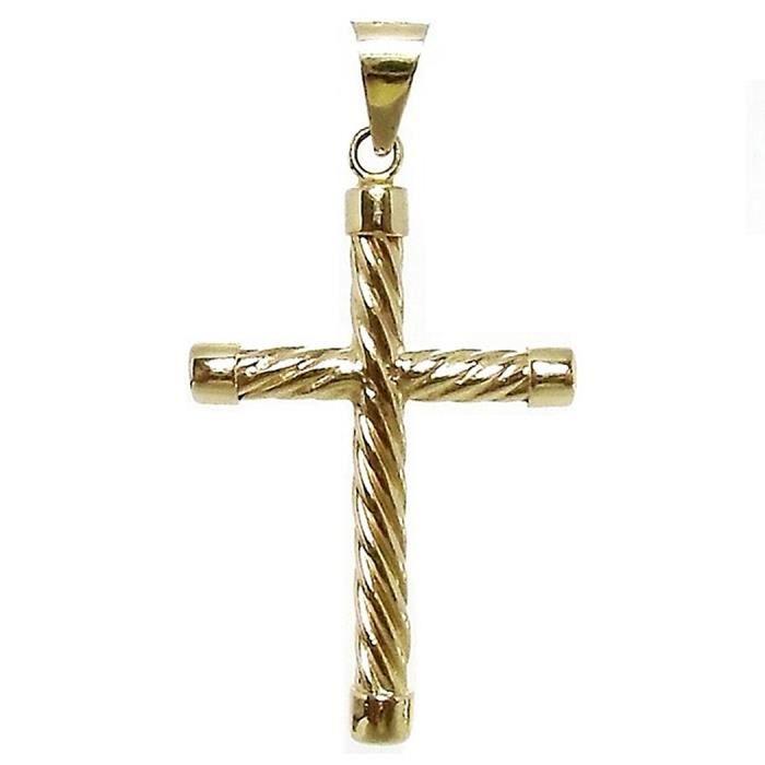Croix pendentif 18k chatons ronds solides crucifix dor torsadés [5371]
