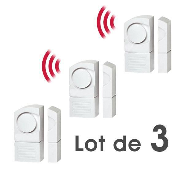 Lot de 3 d tecteur alarme d ouverture sans fil de porte for Telecommande d ouverture de porte de garage