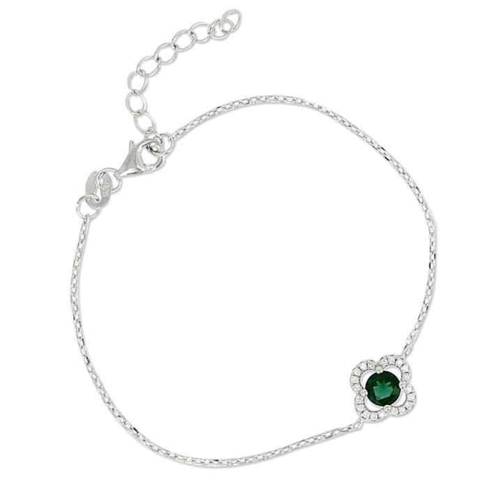 Bracelet en argent massif, motif fleur et pierres en cristal Elegance émeraude