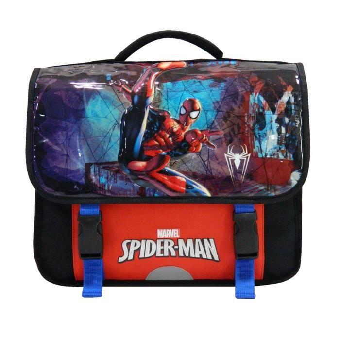 CARTABLE Cartable Primaire Spiderman 38 cm Noir