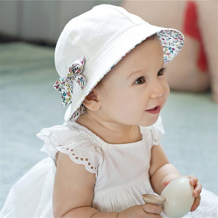 db8a7c60996 1Pc Duplex deux face utile été bébé fille garçon enfant floral imprimé  coton soleil chapeau infantile couleur blanc