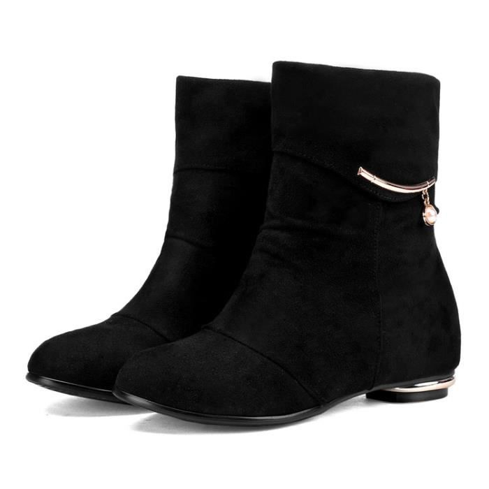 martin boots-Pure Color Low Heel Women Inside Bottes Heighten Suede D coration M tal