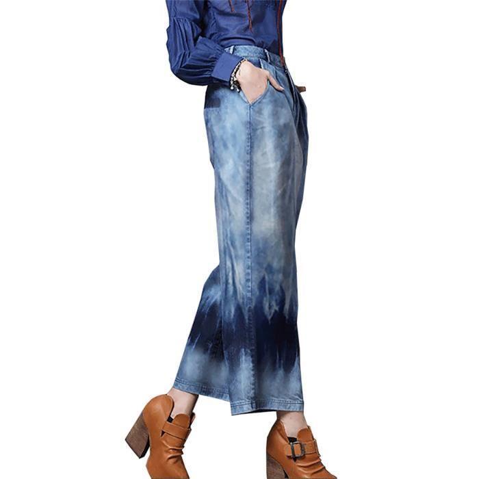 de55b7a9f681b Nouveau 2017 rétro casual bleu long denim large jambe jeans pantalons en  vrac coton denim pantalon