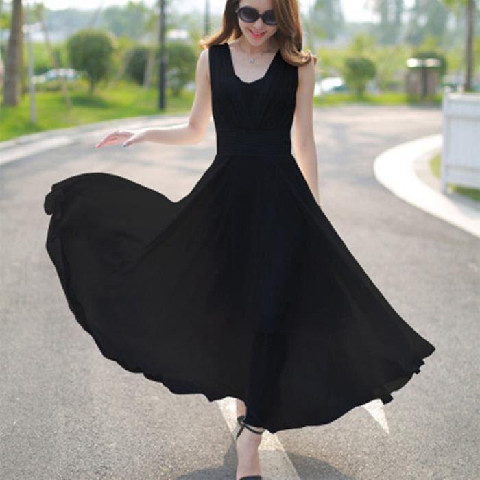 robe femmes en mousseline de soie sans manches sexy Slim grands chantiers