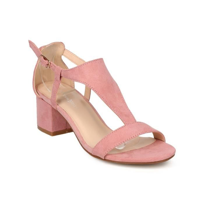 Women's Faux Suede Chunky Heel Sandal - Dressy, Casual, Summer - T-strap Sandal - Ge90 By VUJ2D Taille-39 1-2