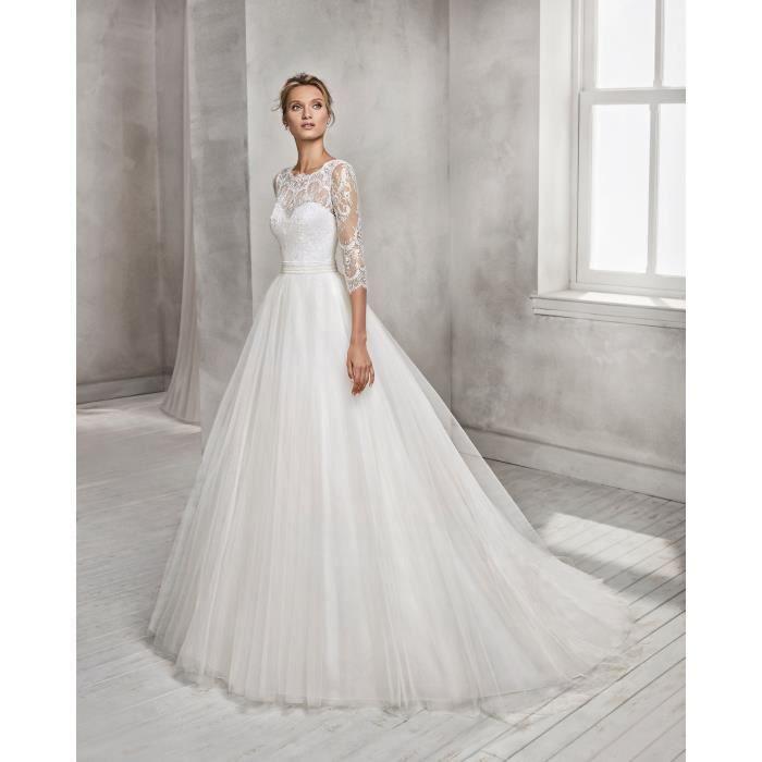 plus récent 4a955 963a7 Robe de Mariée Mariage CéRémonie Femme Maxi Dentelle Manches Longues Tulle  Empire Elegante
