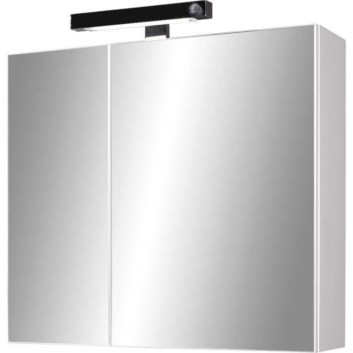 armoire miroir avec clairage led coloris blanc achat. Black Bedroom Furniture Sets. Home Design Ideas
