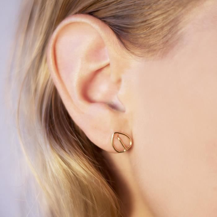 Womens Minimalist Gold Leaf Stud Earrings - 14k Gold Hand Shaped Wire - Perfect Valentines Day Gif GRDYY