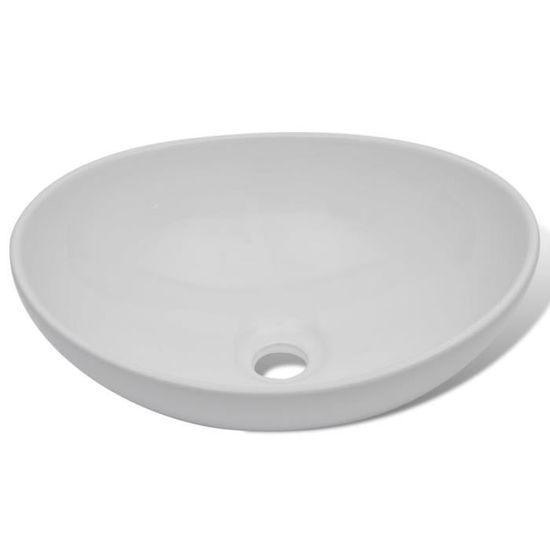 Lavabo en forme ovale Céramique 40 x 33 cm Blanc - Achat   Vente lavabo -  vasque Lavabo en forme ovale - Cdiscount 79fad456ebf1
