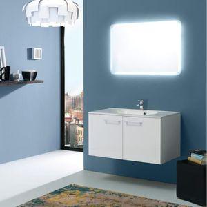 Meuble salle de bain blanc 90 cm achat vente pas cher - Meuble salle de bain 90 cm lapeyre ...