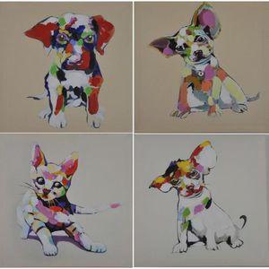 TABLEAU - TOILE DOGGY Tableau multi panneaux 4 toiles peintes 30x3