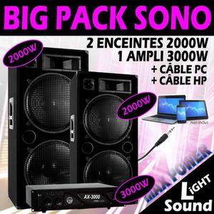 PACK SONO PACK 7000W SONO TRES PUISSANTE avec AMPLI 3000W +