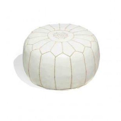Pouf design cuir marocain Blanc (Rembourré) - Achat / Vente pouf ...