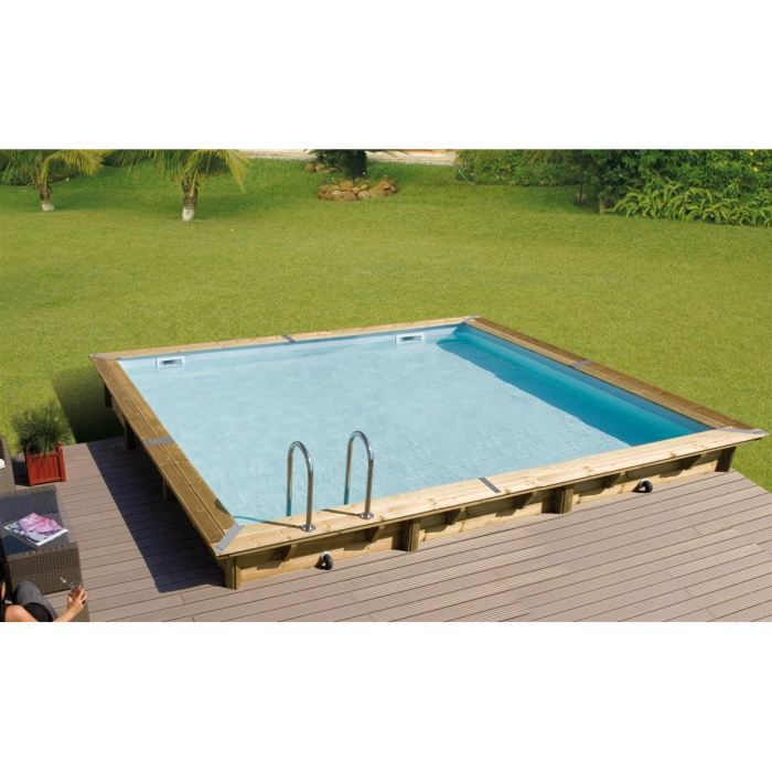 Ubbink piscine bois linea bleue 500x500x140cm achat for Piscine ubbink