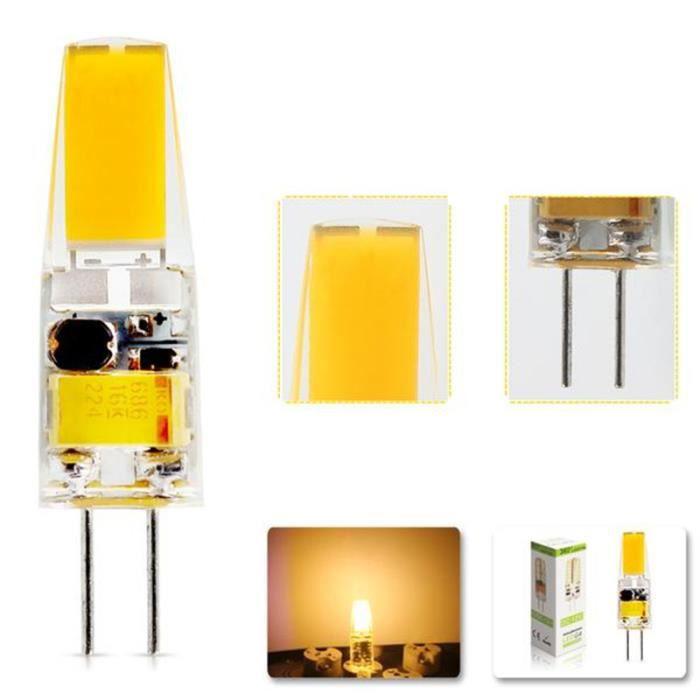 Ampoule LED G4 2W COB AC DC 12V Blanc Chaud 2800K Lampe Spotlight Super Power Eclairage 260° 210LM Equivalente à Halogène 20W