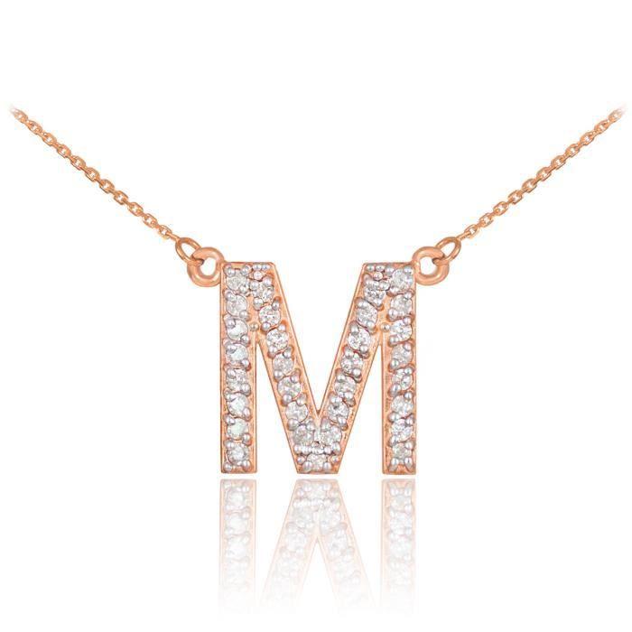 Pendentif 14 ct Or Rose 585/1000lettre initiale M Diamants Initialmonogramme