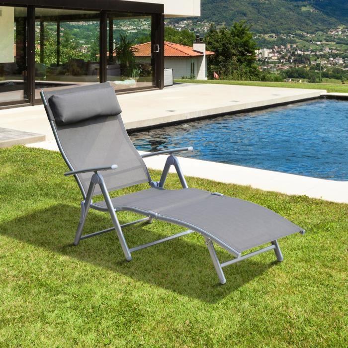 Transat bain de soleil grand confort pliable dossier inclinable multi positions accoudoirs et for Chaise longue bain de soleil pliable