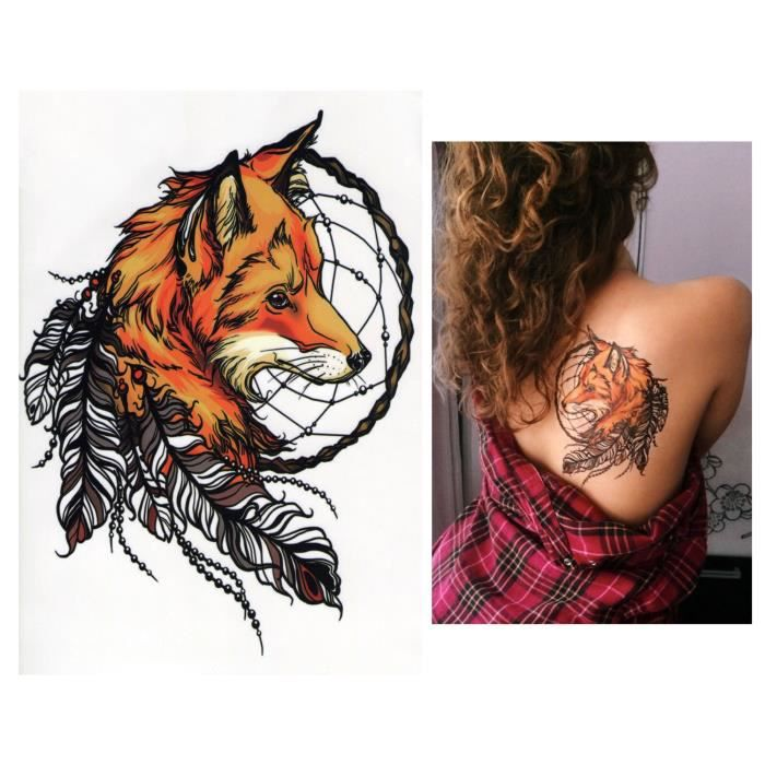 Temporaires Tatouages éphémères Tattoo Faux Tatouage Renard