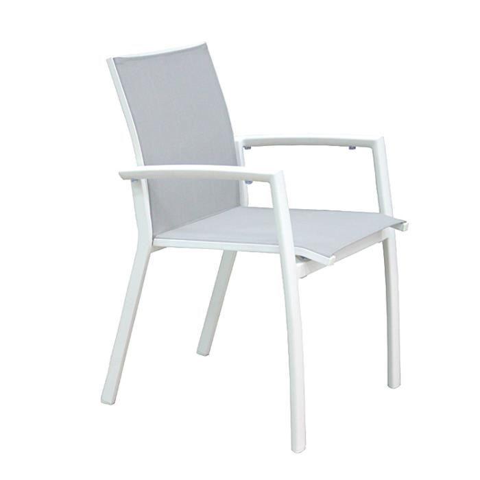 CHAISE Chaise En Alu Blanc Et Textilne Sydney