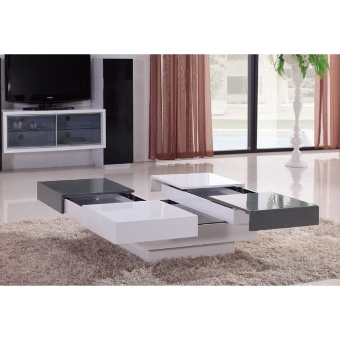 Table Basse Laquee Blanche Et Grise 4 Tiroirs Kary Achat Vente