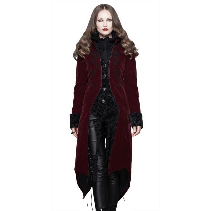 Veste femme en velours rouge avec broderies, faux 2pcs, gothique élégant  aristocrate 46b0609fb92b