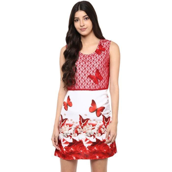 Dentelle rouge de la femme et la robe papillon Imprimer HB83R Taille-34