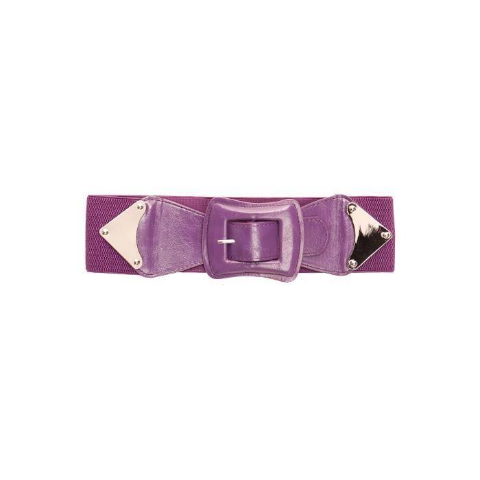 dmarkevous - Ceinture Elastique Violette femme à Boucle Rectangle. - (70 cm  - violet) ab9338ebeed
